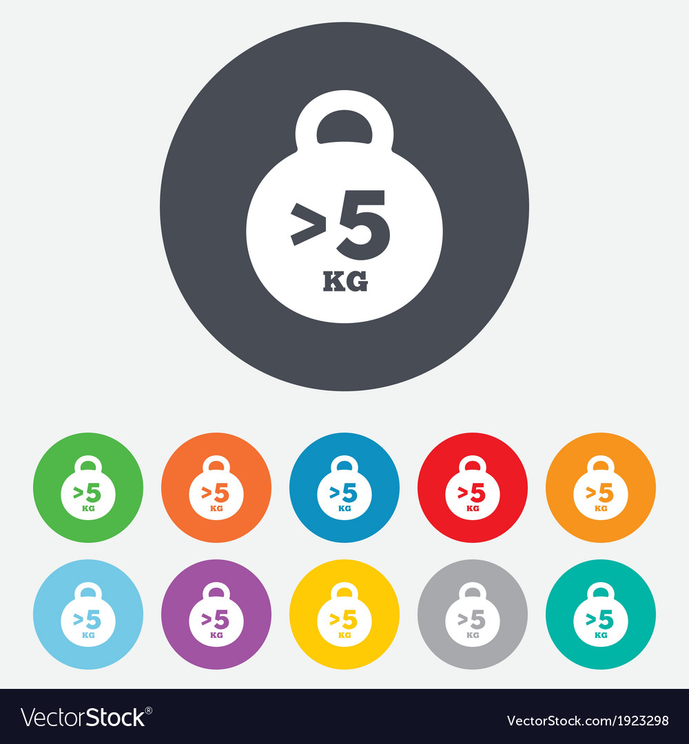 Weight Sign Icon More Than 5 Kilogram Kg Vector Image