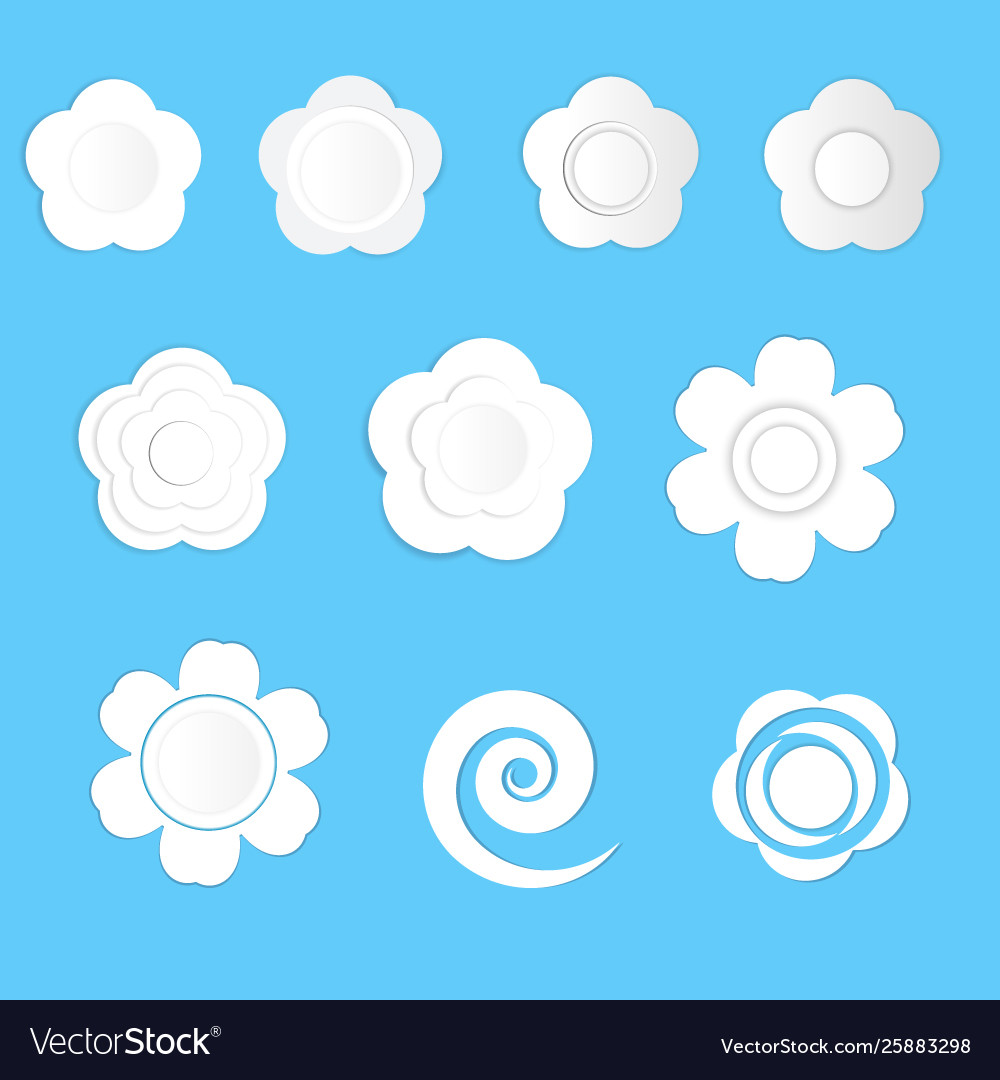 White paper flowers on a blue background