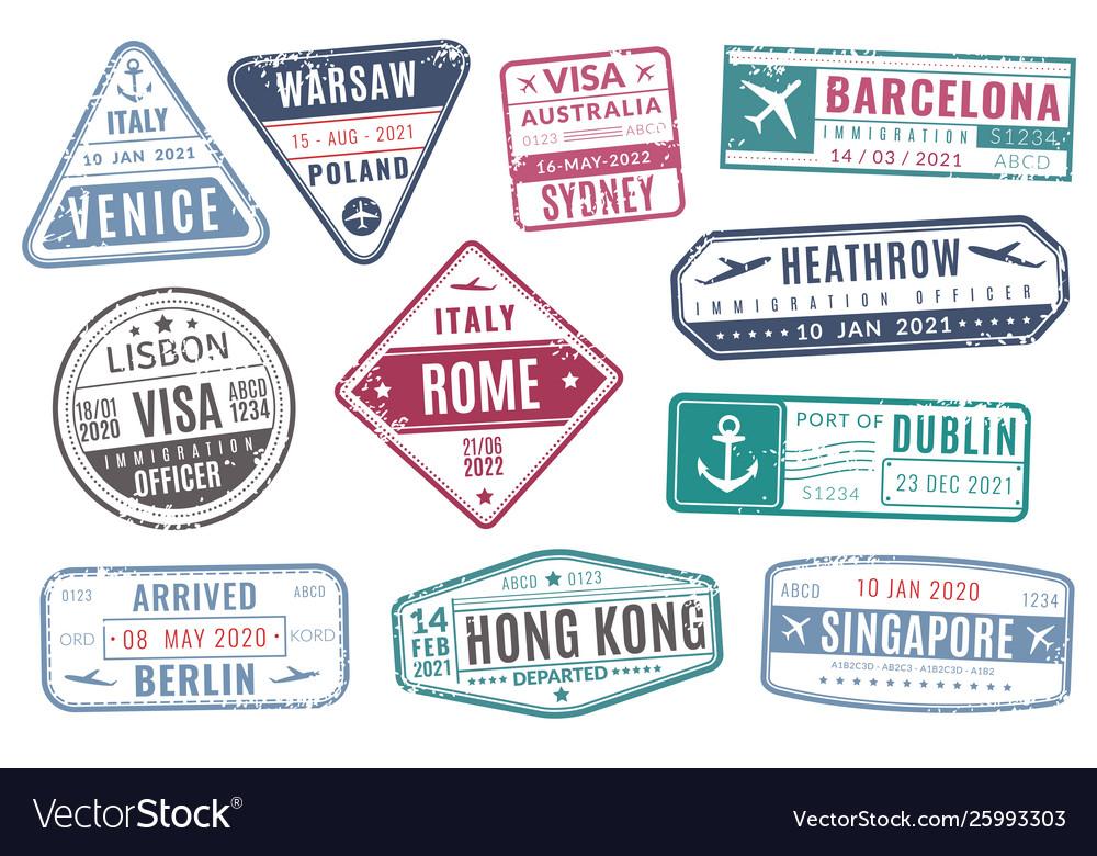 Airport stamps vintage travel passport visa