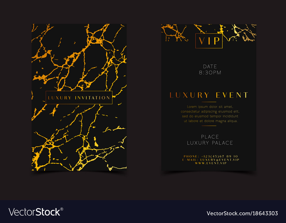 Black gold luxury invitation for vip event vector image stopboris Gallery