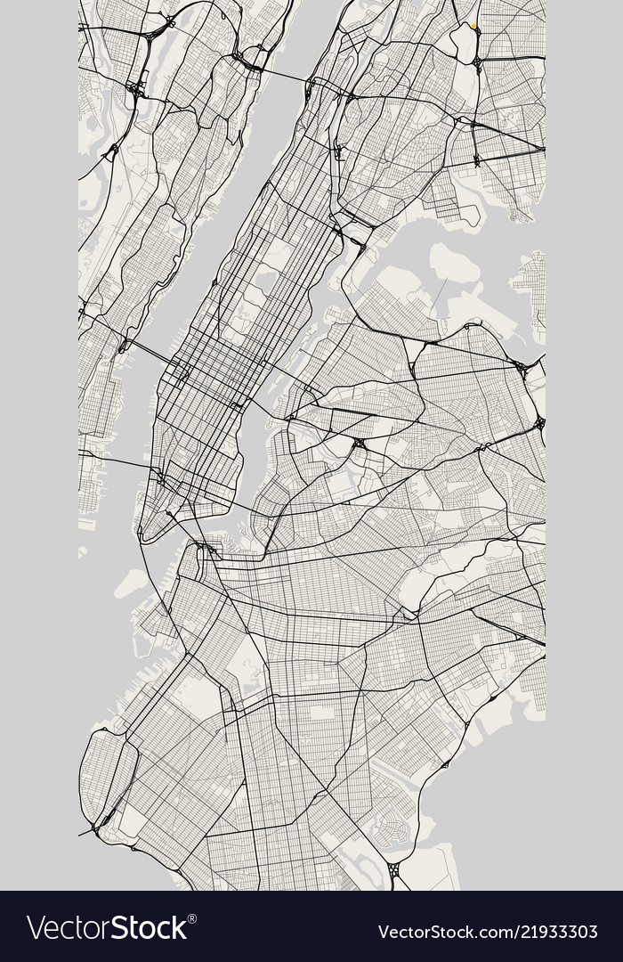 Free Map Of New York City.City Map Of New York In Black And White