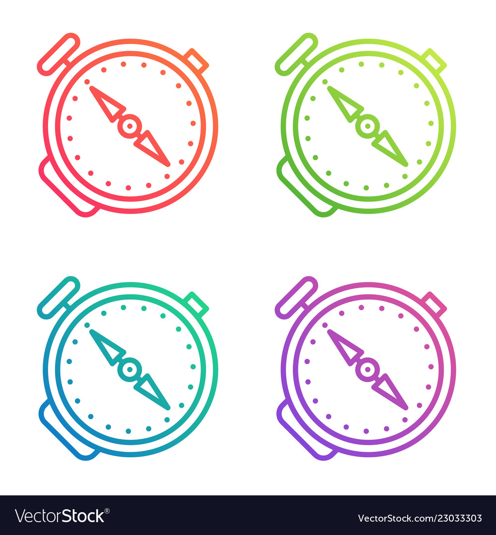 Compass outline icon gradient color line logo