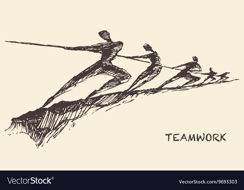 Drawn team teamwork partnership concept
