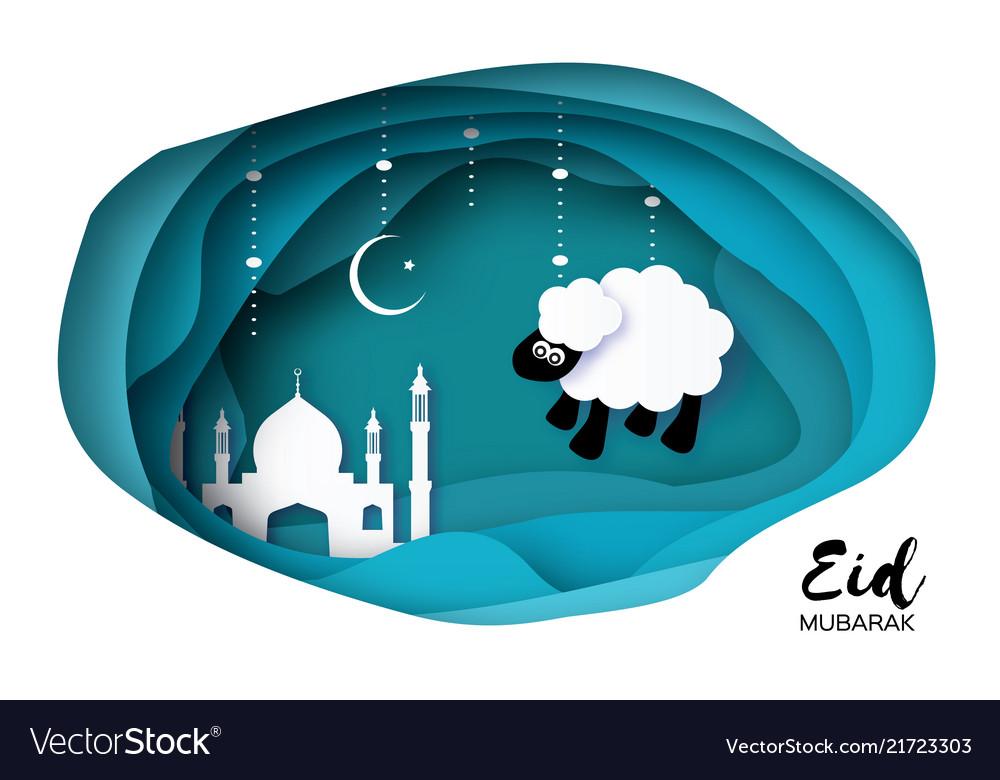 Eid-al-adha greeting card design with paper cut