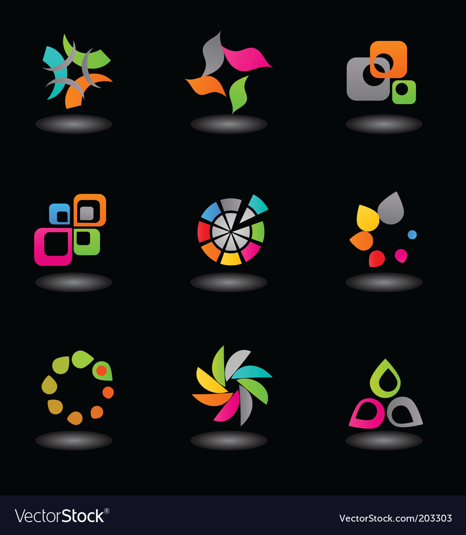 Glossy icons and logos vector image