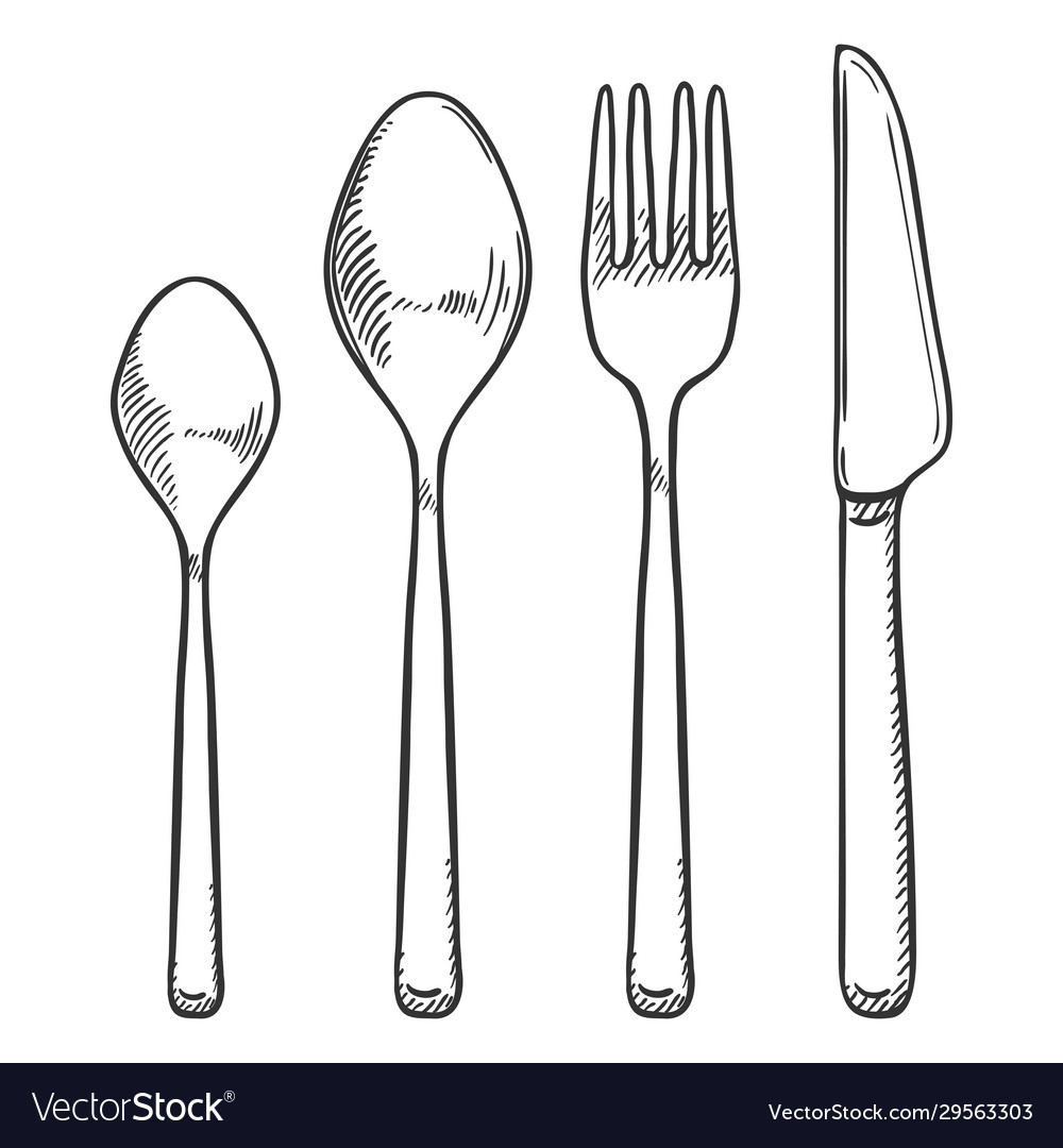 Hand drawn sketch set cutlery knife fork spoon