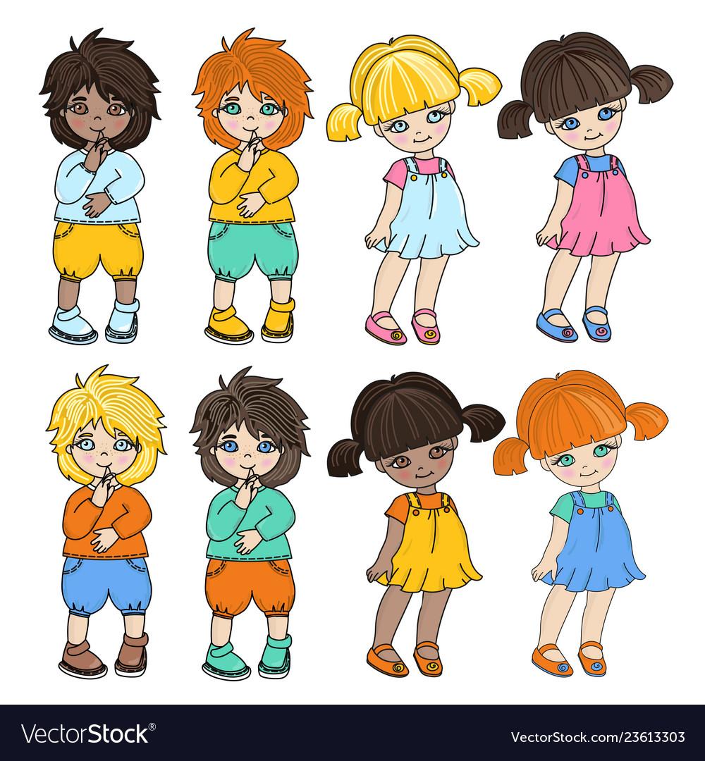 Kid characters cartoon set