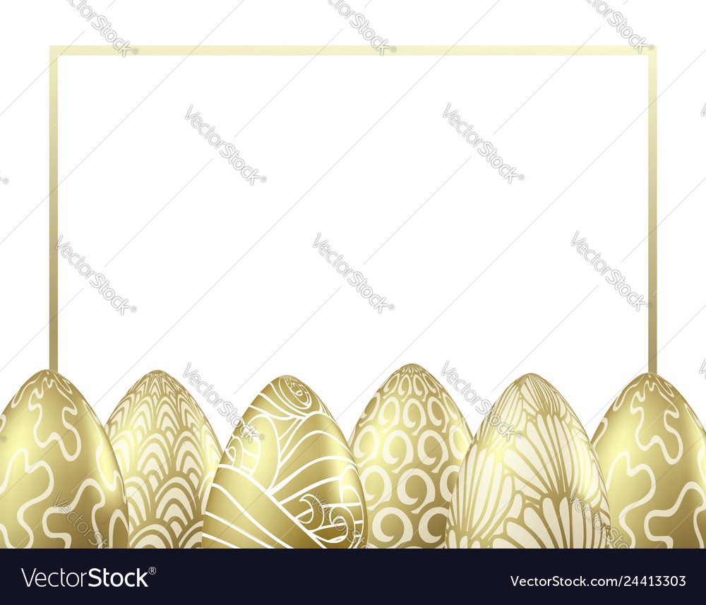 Luxury frame with realistic golden easter eggs
