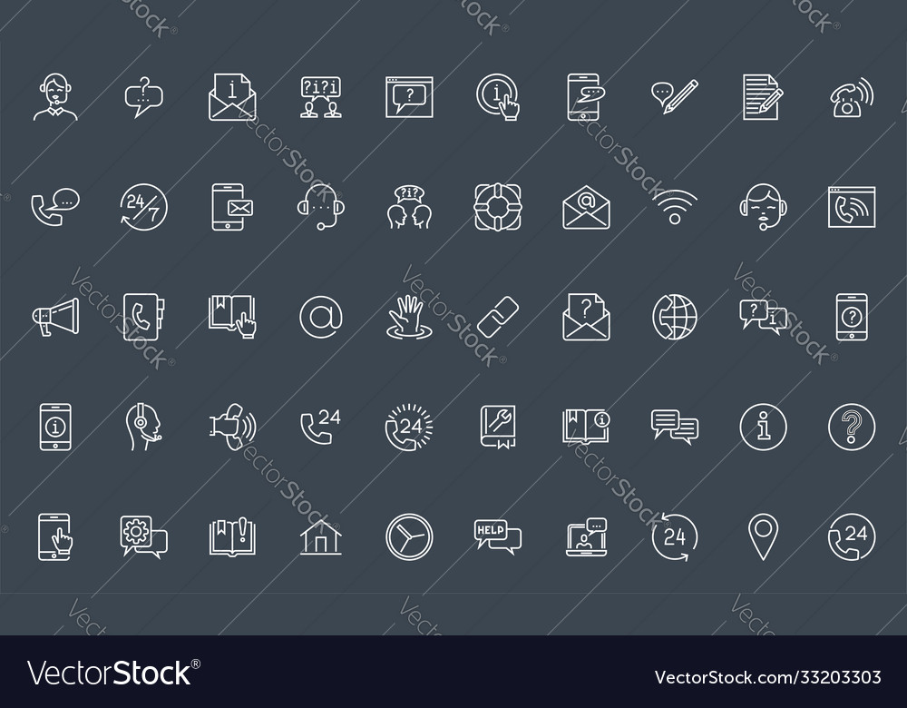Set help support and contact us line icons