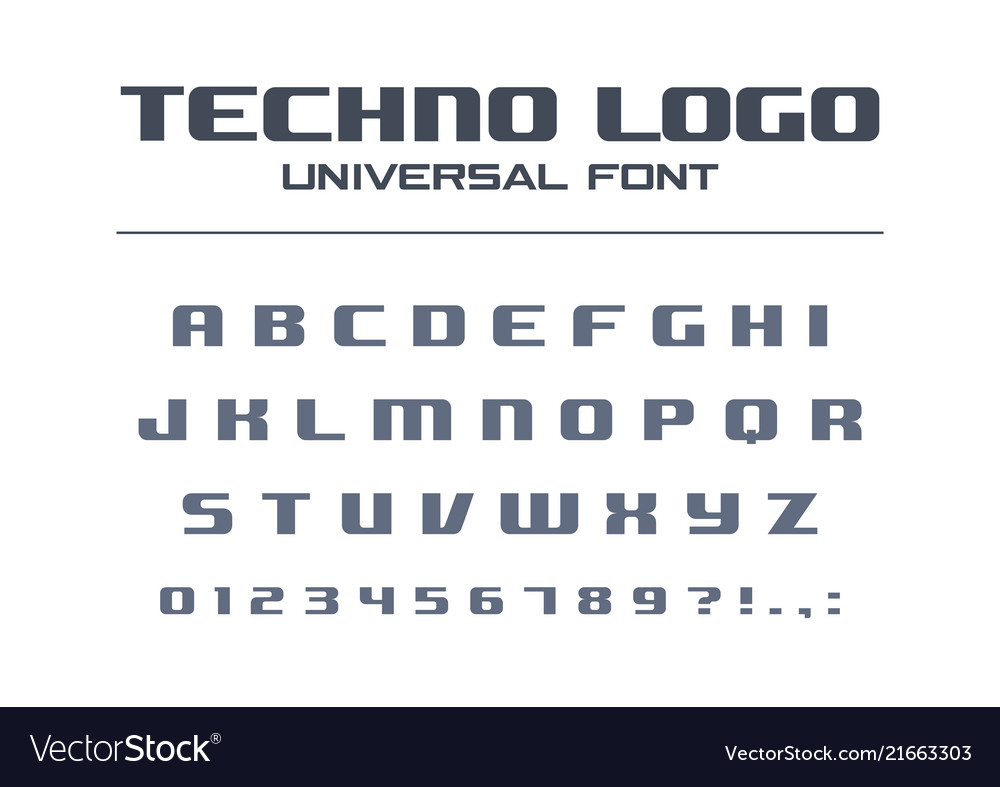 Technology bold font geometric typography style