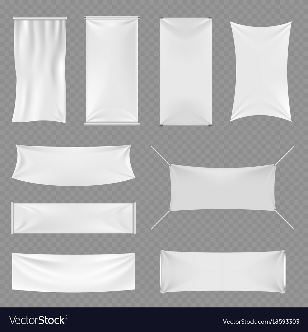 White blank textile advertising banners with folds