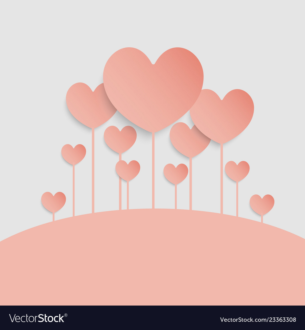 Background of hearts air balloons valentine day