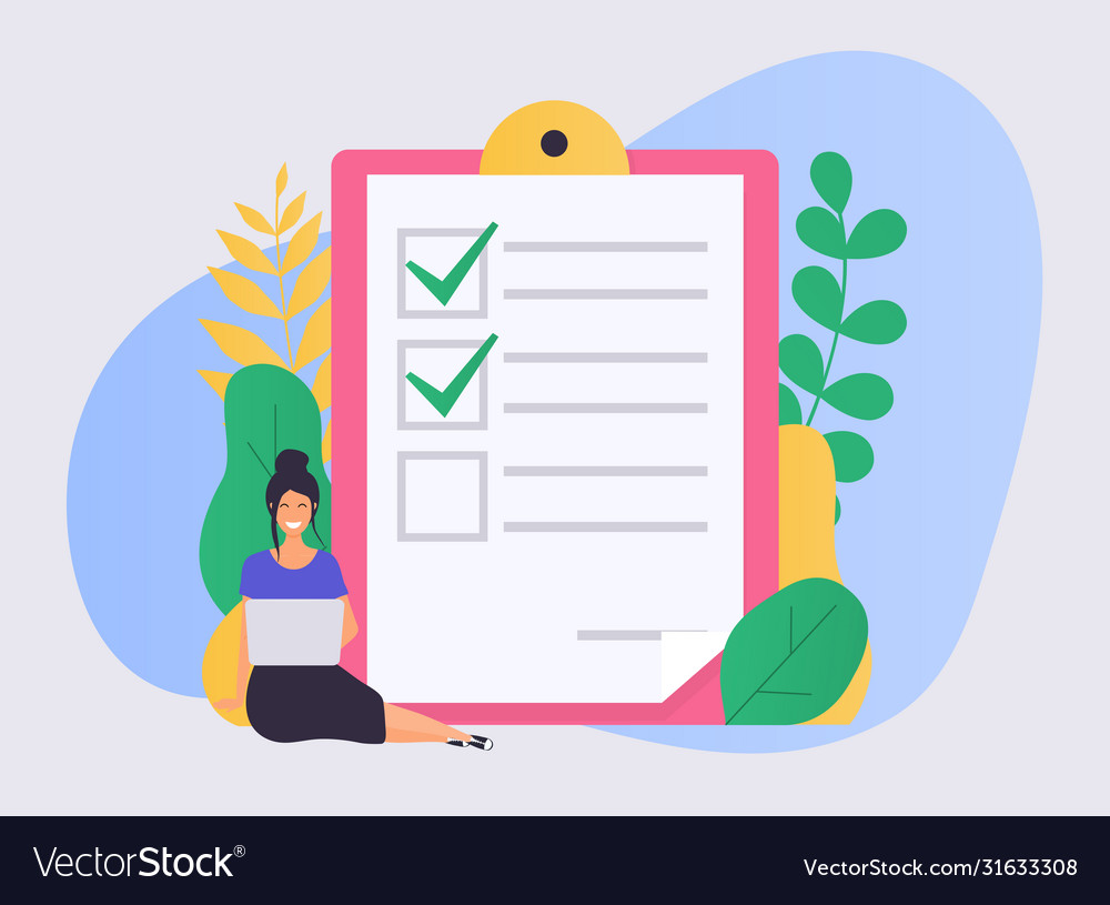 Business woman with a laptop marked checklist on