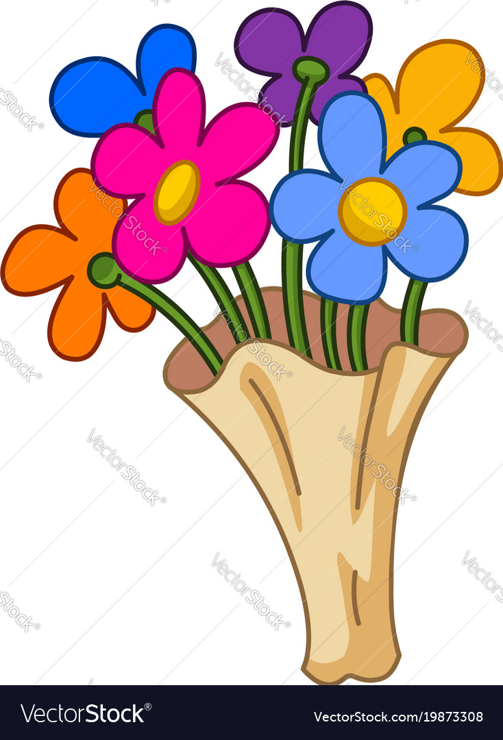 Cartoon Flower Bouquet Royalty Free Vector Image