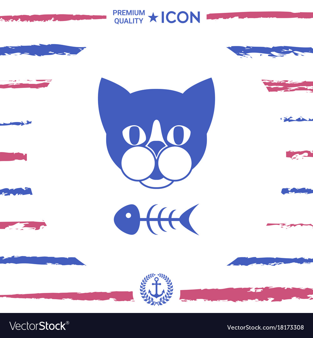 Cat With Fish Skeleton Icon Logo Symbol Royalty Free Vector