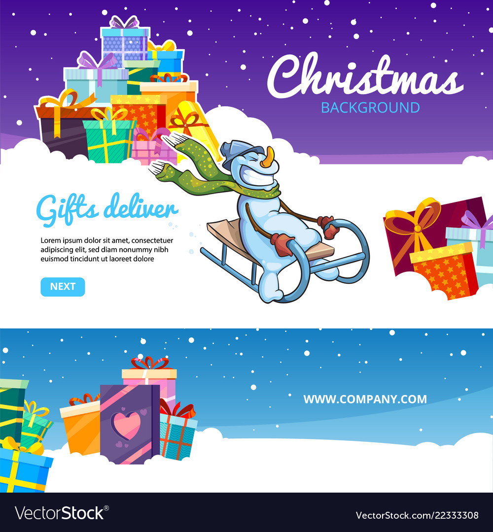 Christmas banners holiday gifts colored packages