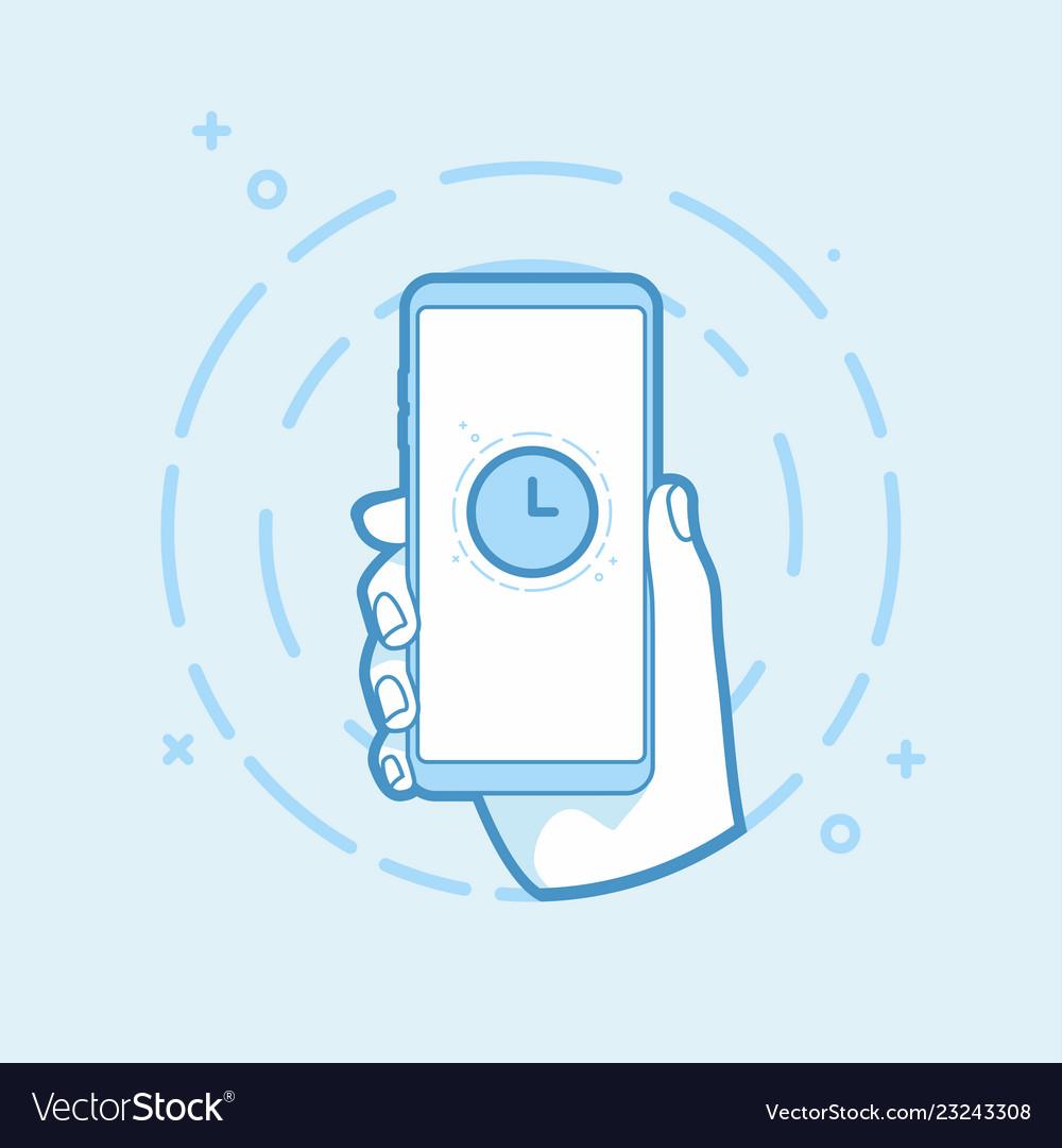 Clock icon on smartphone screen