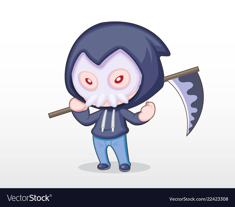 Cute style boy dressing in grim reaper costume ill