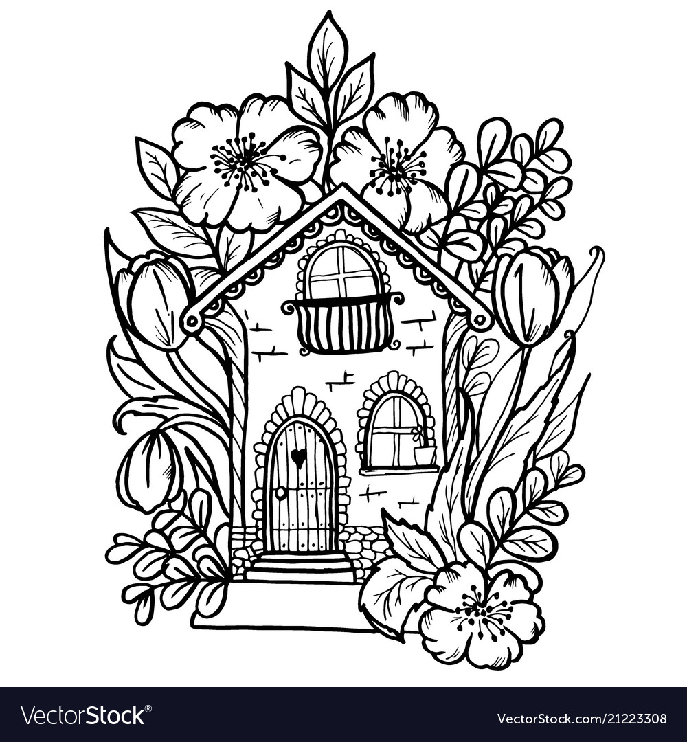 Doodle cute house in colors black outline