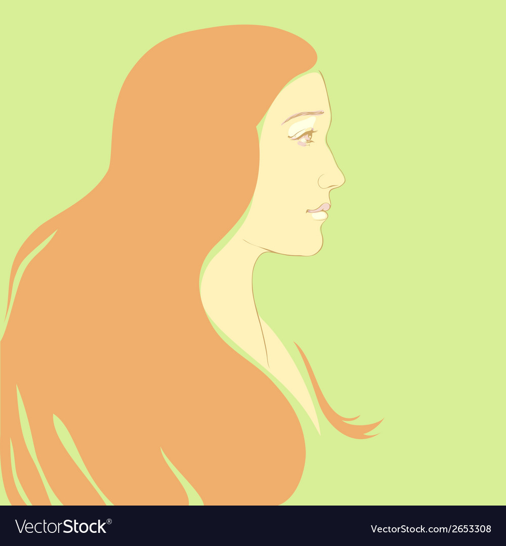 Girl with long hair cartoon