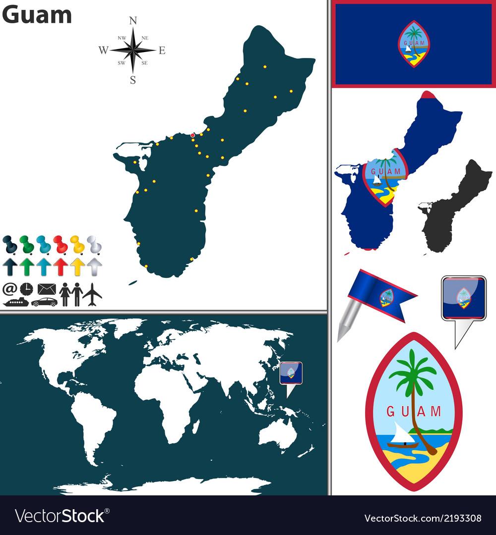 Guam map world Royalty Free Vector Image - VectorStock