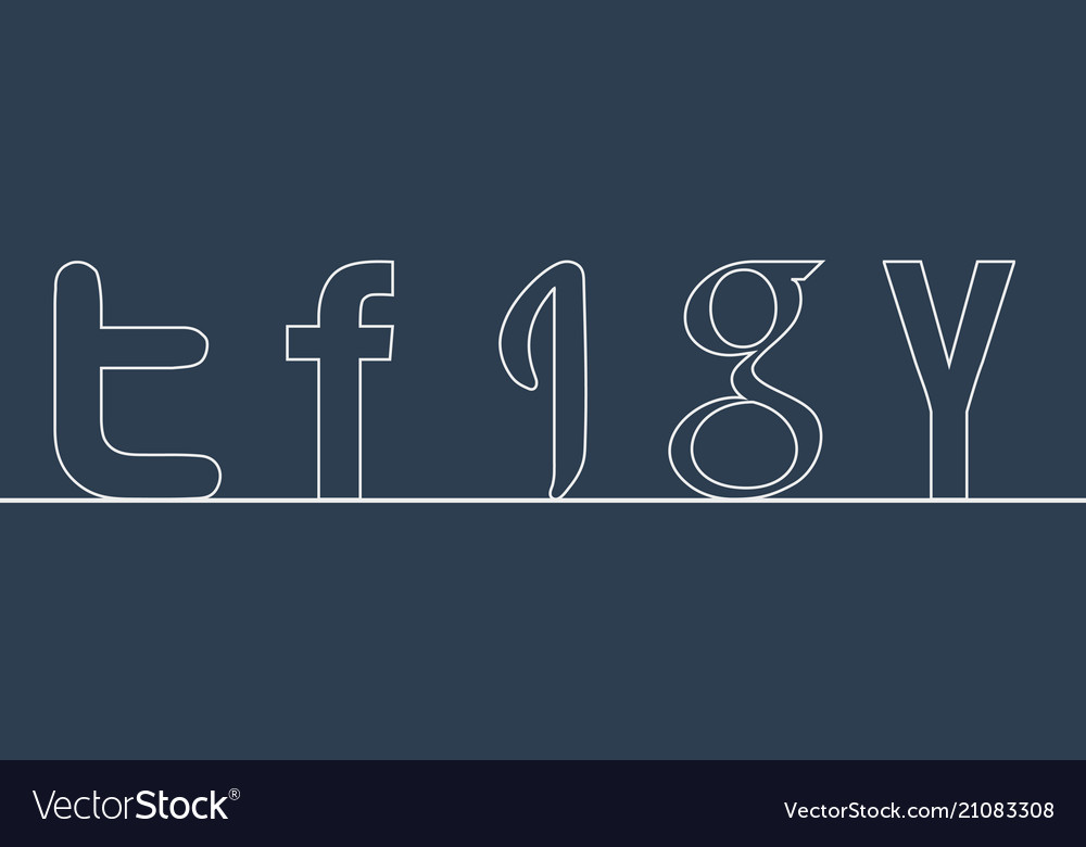 Outline social letters isolated on blue background