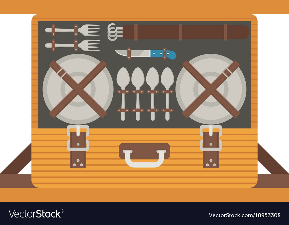Portable Picnic Bag Hamper vector image