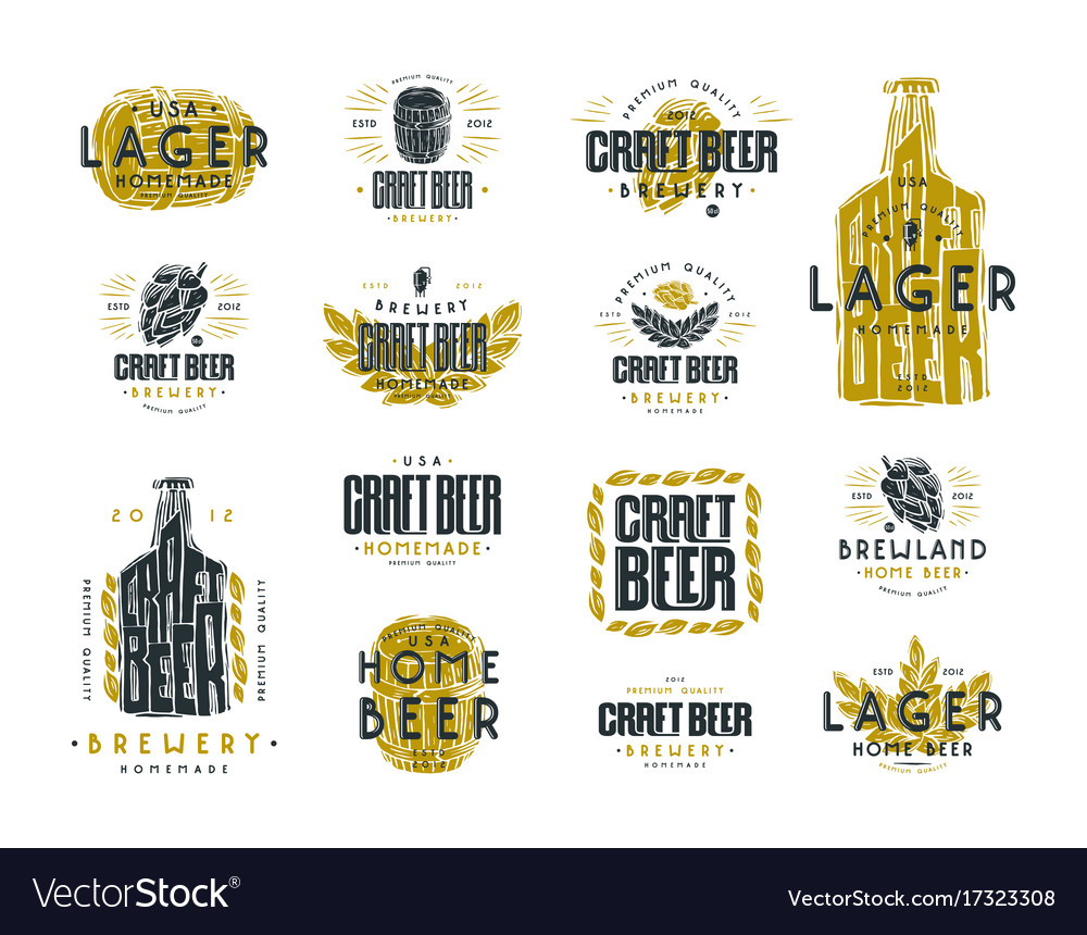 Set of craft beer label and logo