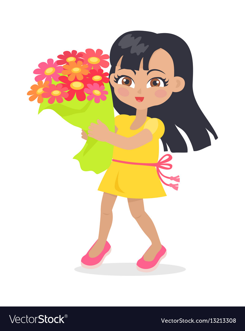 Smiling girl with colourful bouquet of flowers vector image izmirmasajfo