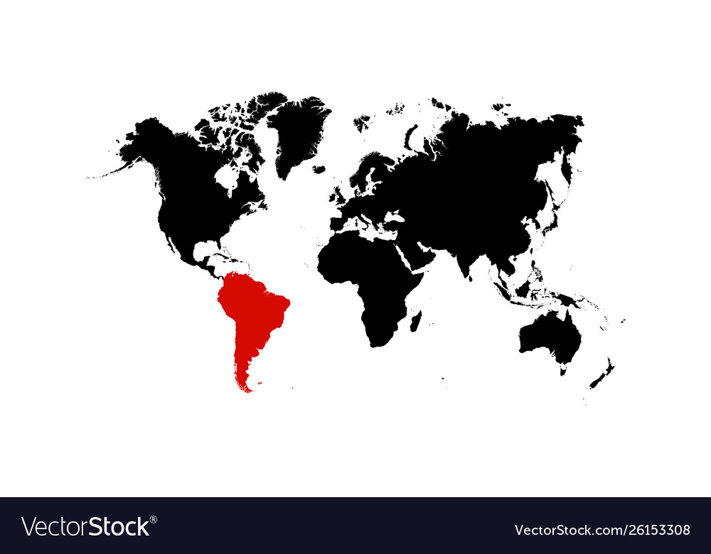 The map south america is highlighted in red on