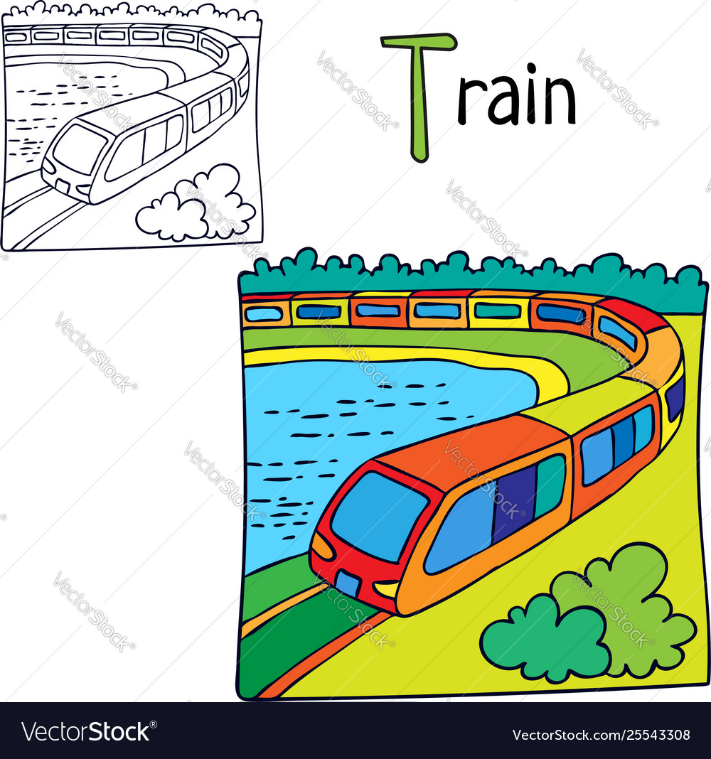 Train coloring book page