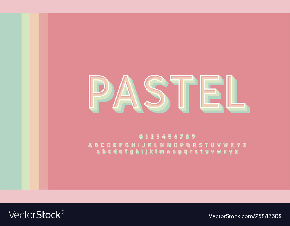 Typography retro classic stylish pastel color vector