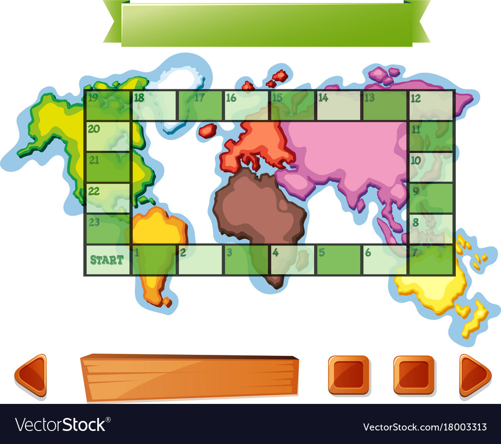 Boardgame template with worldmap background vector image gumiabroncs Images