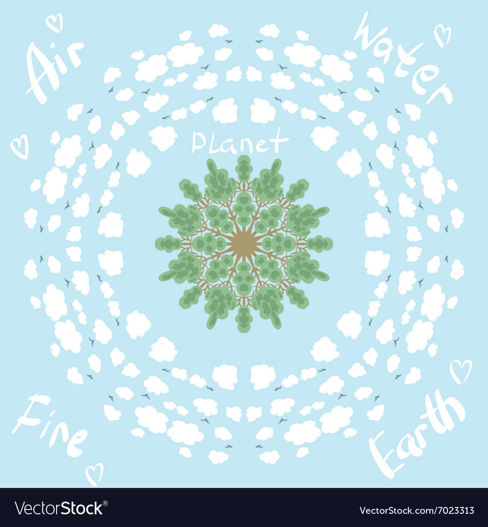 Circle pattern with trees and clouds eco planet vector image
