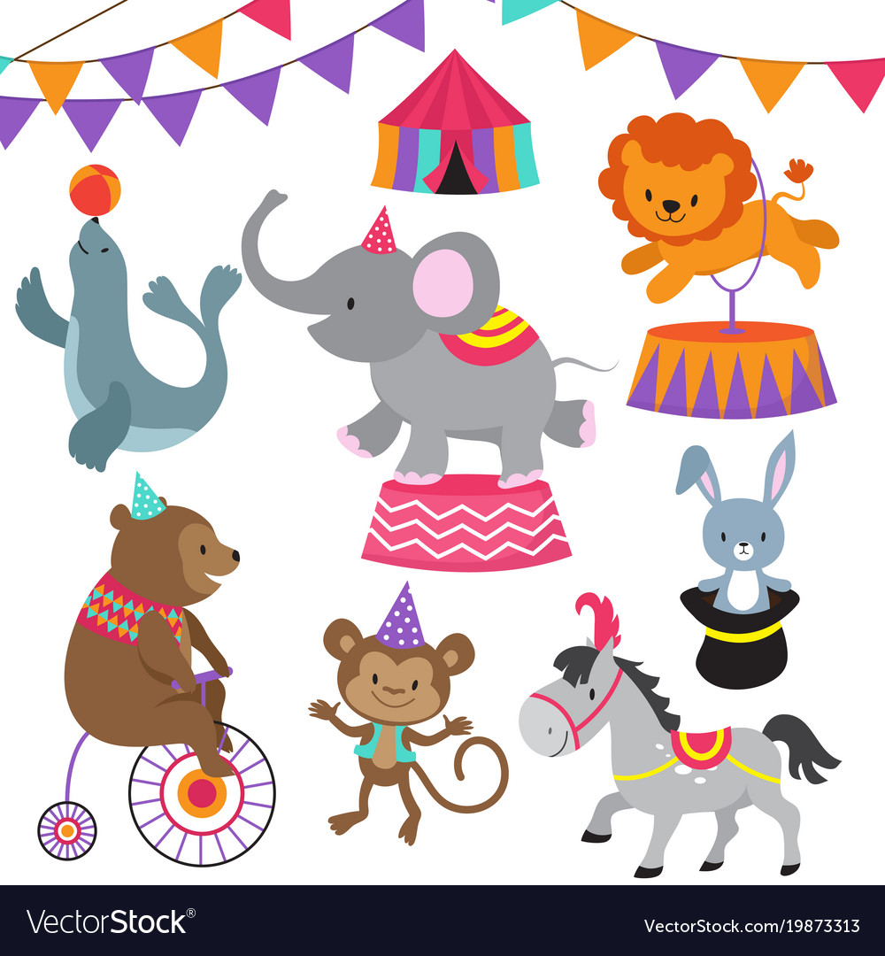 Circus child show cartoon animals set