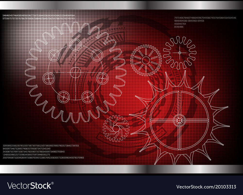 Cogwheels on a red