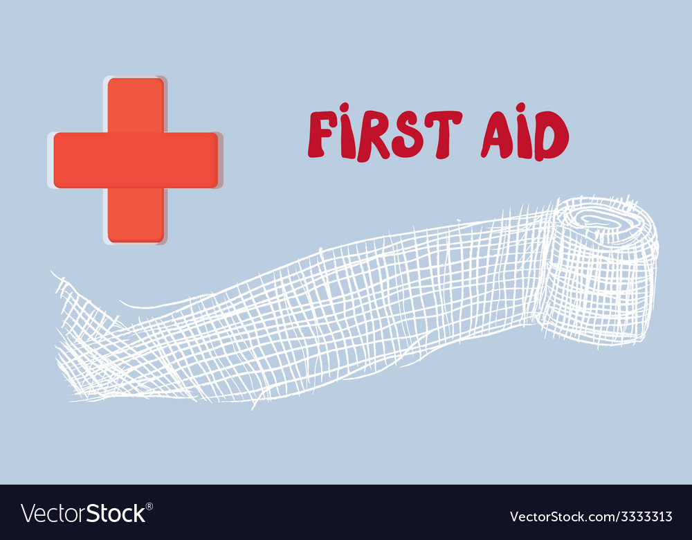 First aid banner with red cross and bandage - hand