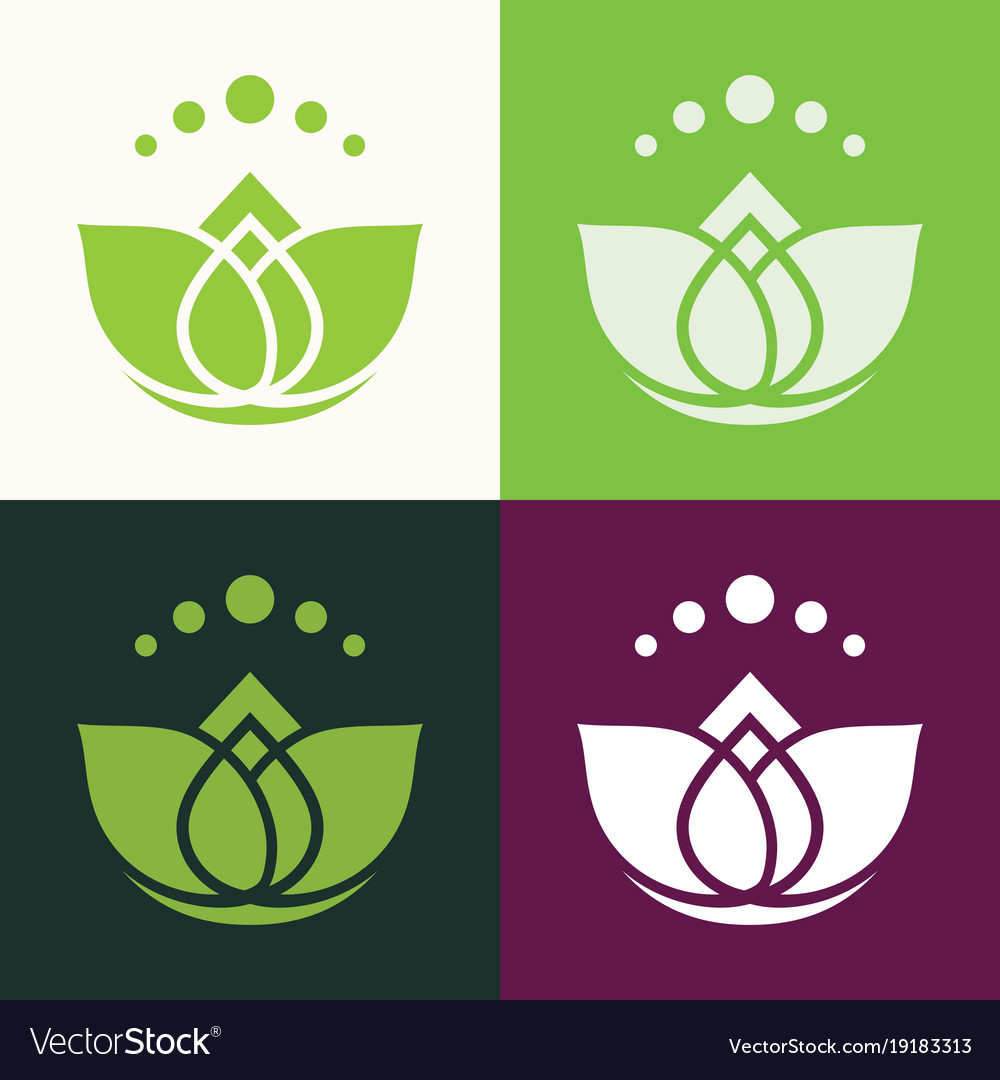 Green lotus abstract logo