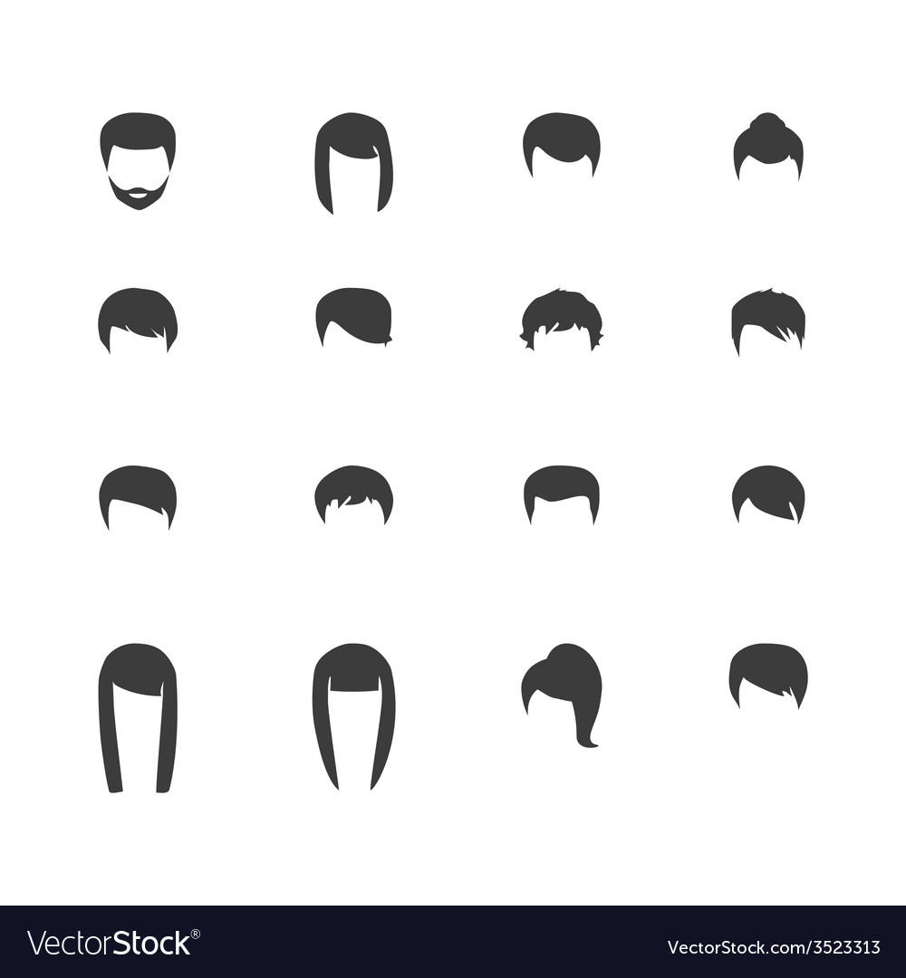 Hair silhouettes woman and man hairstyle