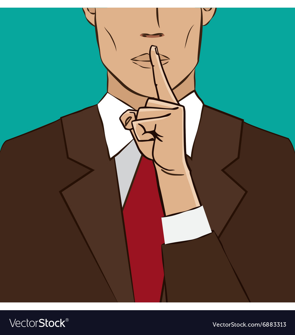 Hand sign silence vector image