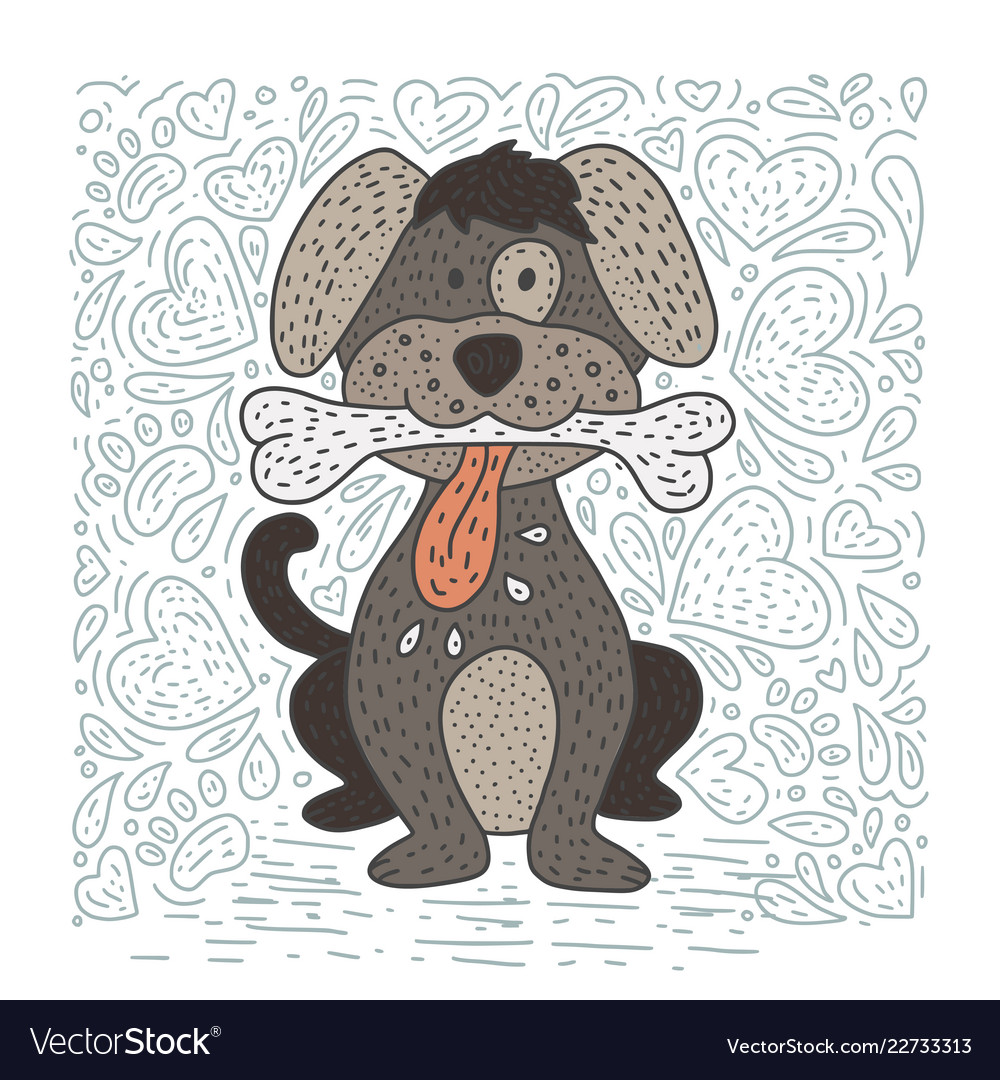 Happy detailed doodle hand drawn dog
