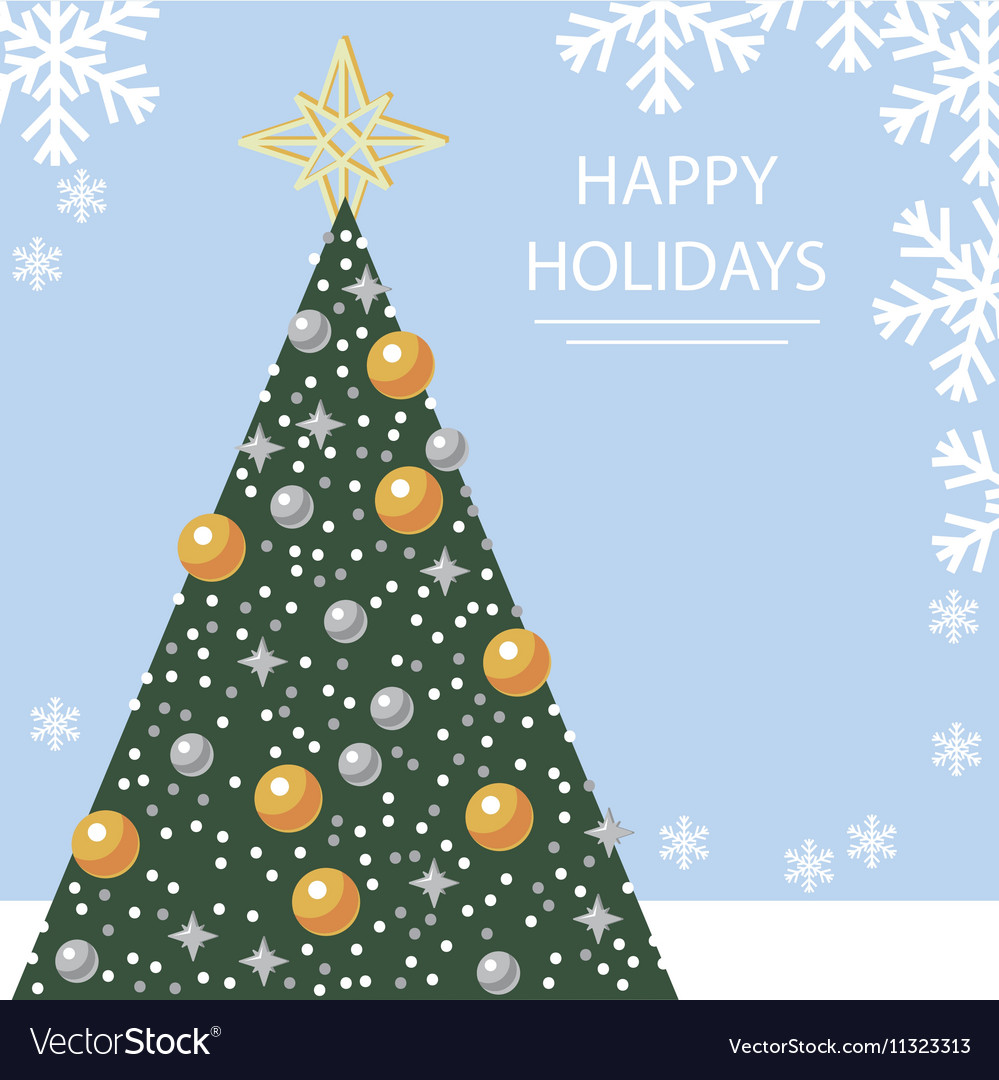 Holiday card with Christmas tree and snowflakes
