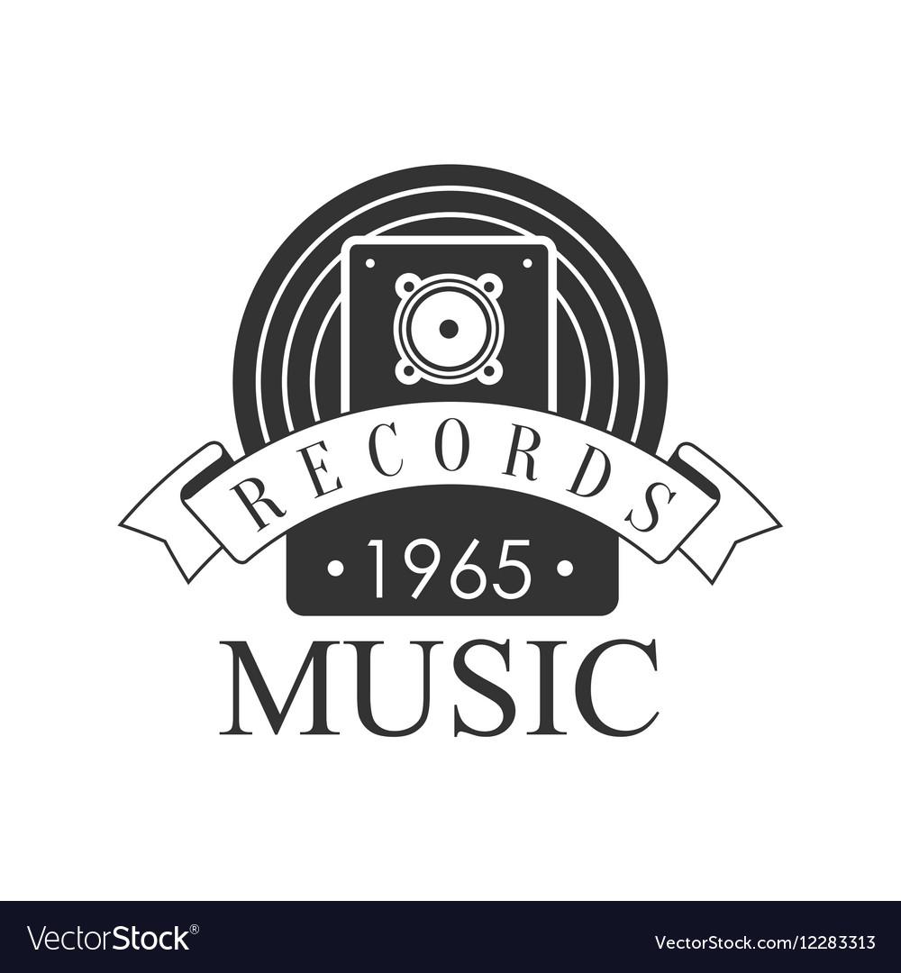 Music Record Studio Black And White Logo Template