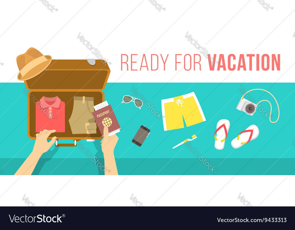Packing clothes for summer vacation flat