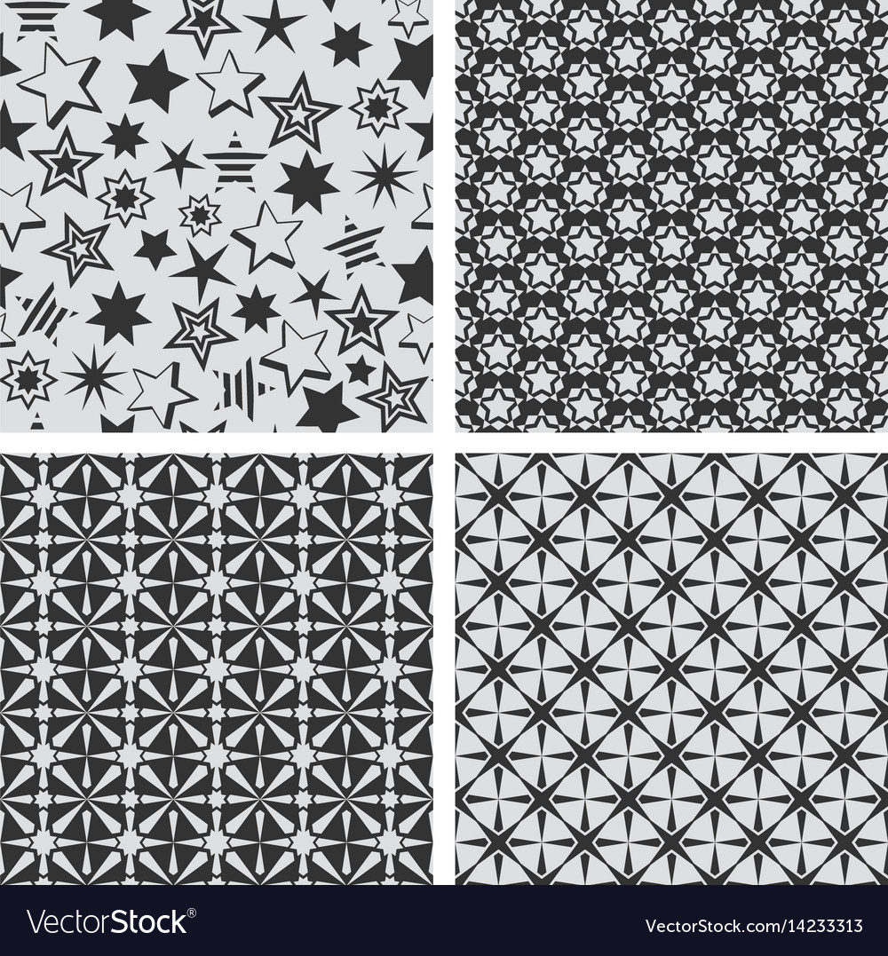 Star abstract seamless pattern texture set