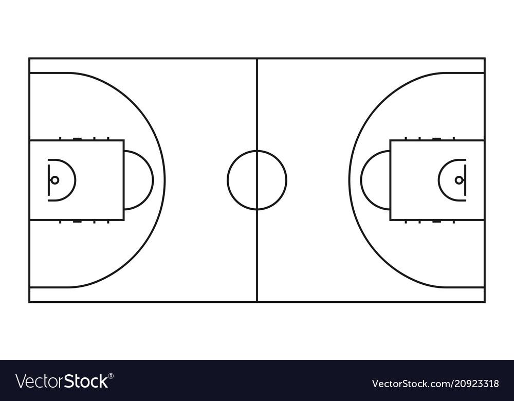 Basketball court line background outline vector image