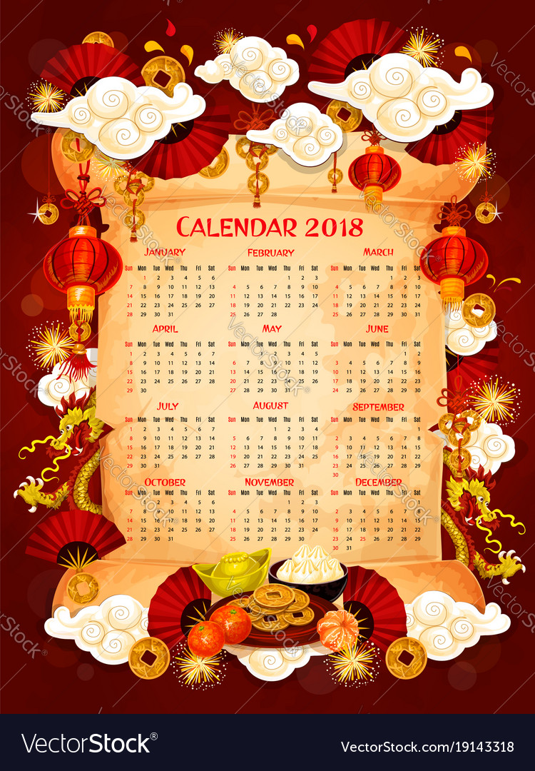 chinese new year calendar template on parchment vector image