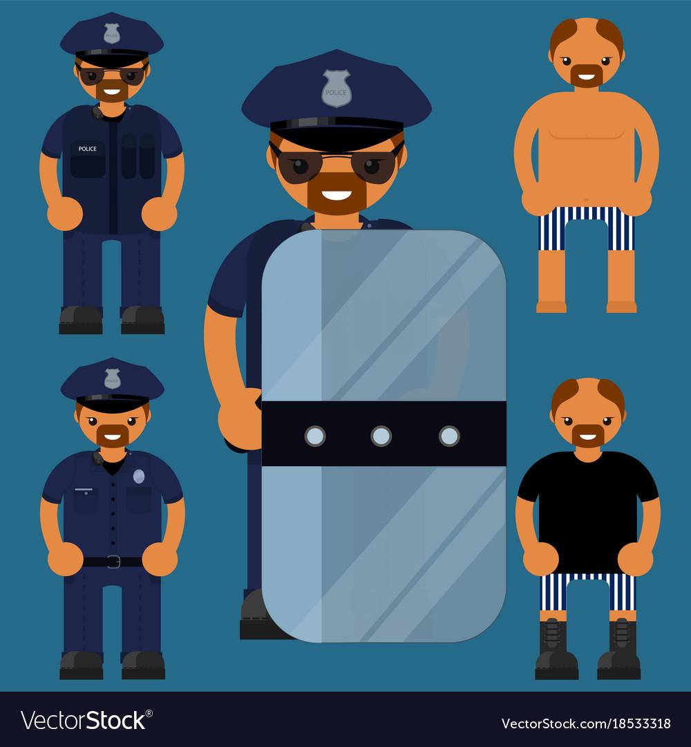 Flat character polesaman police officer