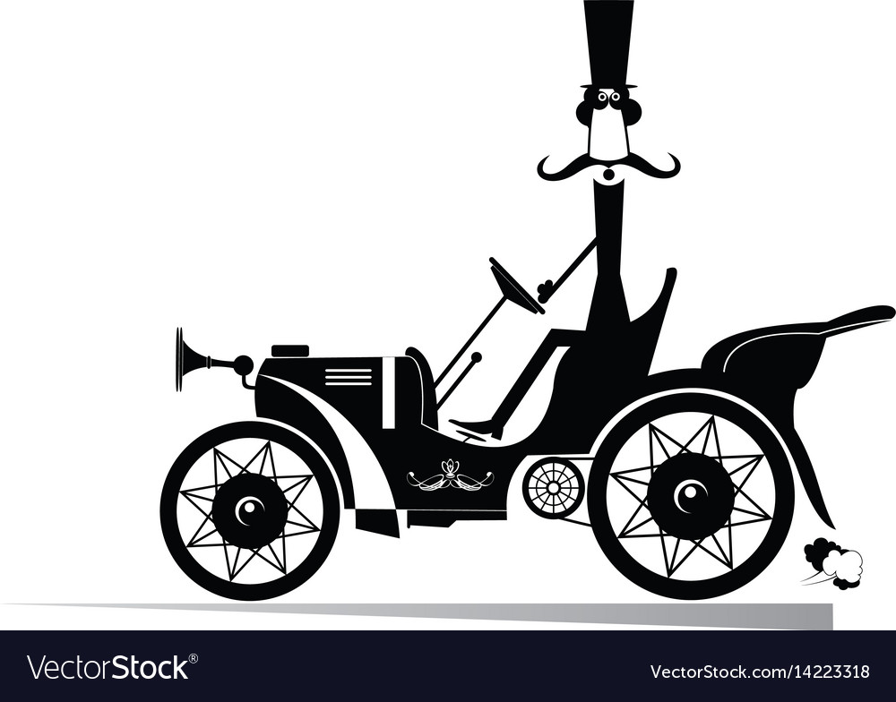Gentleman in the retro car isolated vector image