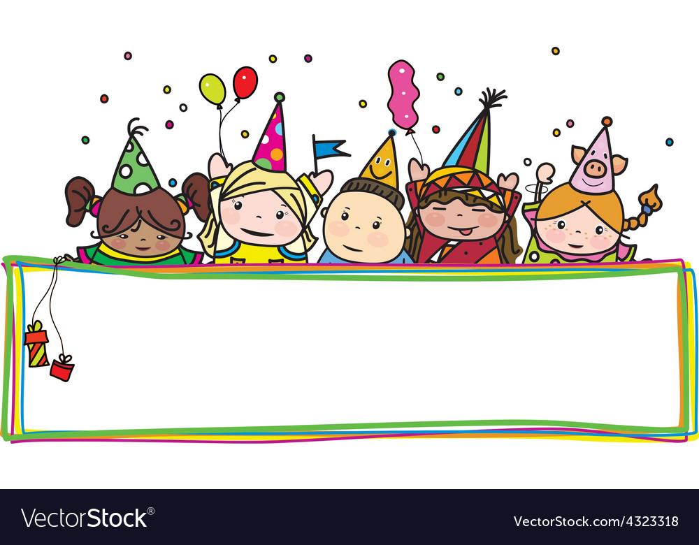 Kids Birthday Frame Royalty Free Vector Image Vectorstock